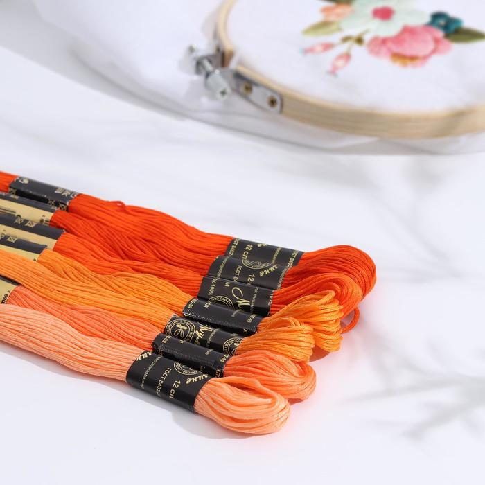 "Набор ниток мулине ""Цветик-Семицветик"", 10±1м, 7шт, цвет оранжевый"