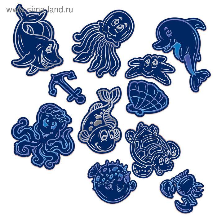"""Гравюры-наклейки """"Подводный мир"""" с металлическим эффектом - синий, серебро, 2 шт. + штихель 106663"""