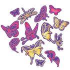 """Гравюры-наклейки """"Бабочки"""" с металлическим эффектом - золото, розовый, 2 шт. + штихель"""