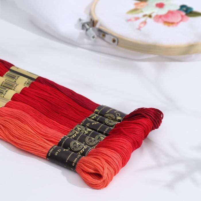 """Набор ниток мулине """"Цветик-Семицветик"""", 10±1м, 7шт, цвет красный"""