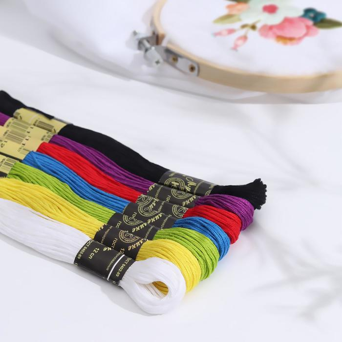"""Набор ниток мулине """"Школьный"""", 10±1м, 7шт, цвета МИКС"""