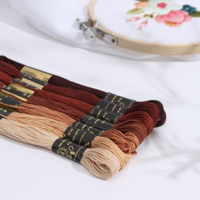 """Набор ниток мулине """"Цветик-Семицветик"""", 10±1м, 7шт, цвет коричневый"""