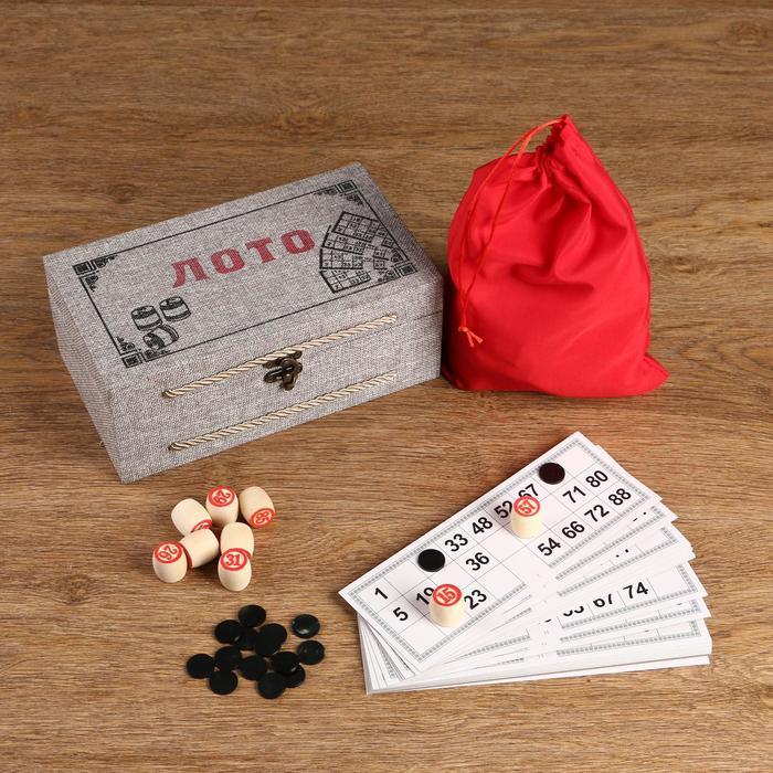 """Игра """"Лото"""", деревянная шкатулка с ручками, обтянута тканью"""