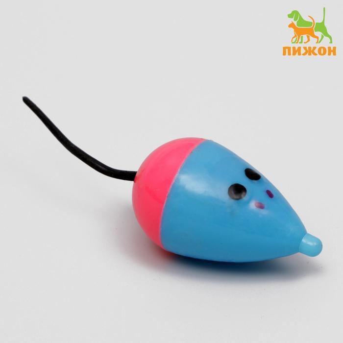 Игрушка для кошек Мышь пластиковая с шариками, 7,5 см, микс цветов