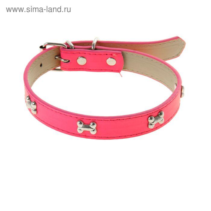 """Ошейник """"Неон"""" с косточками, 48 х 2 см, розовый"""