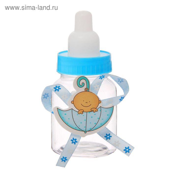 """Бонбоньерка """"Бутылочка""""с малышом в зонтике, цвет голубой"""