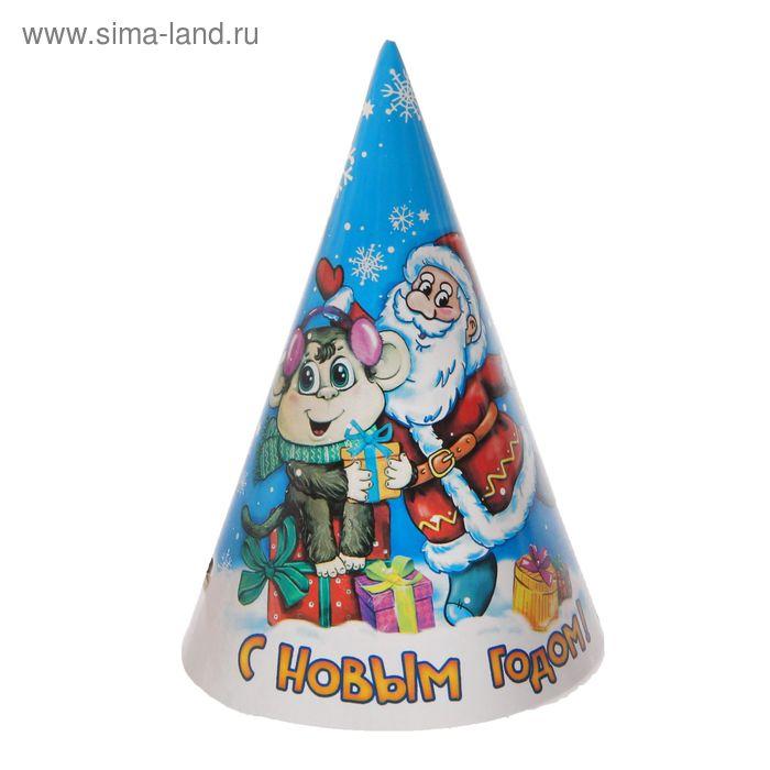"""Набор бумажных колпаков """"С Новым годом!"""" Дед Мороз с обезьянкой, (набор 6 шт) 16 см"""