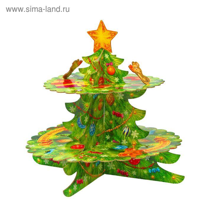 """Подставка для пирожных двухъярусная """"С Новым годом"""""""