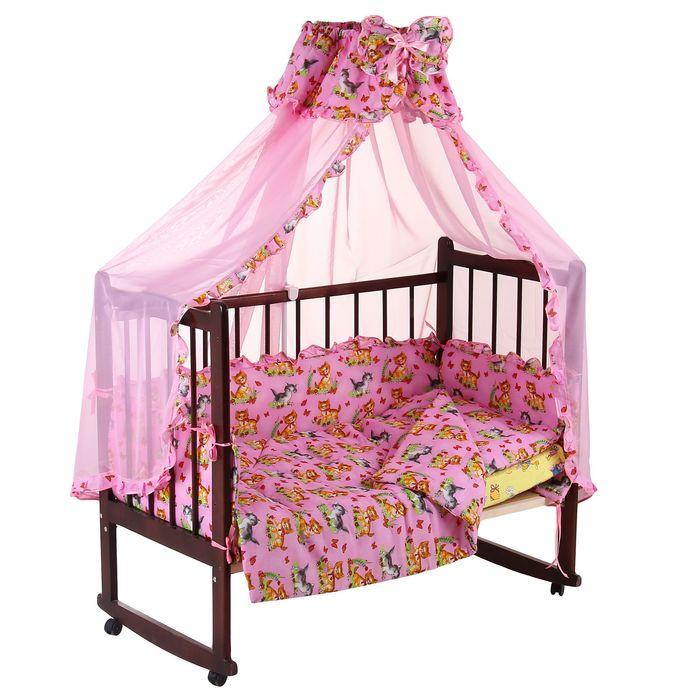 """Комплект в кроватку """"Кошечки"""" (4 предмета), цвет розовый (арт. 1555)"""