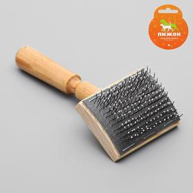 Brush-slicker brush wooden with no frame drops, base 60x50 mm