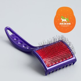 Brush-slicker brush for combing long-haired animals, medium, mild, without eye drops, bottom.