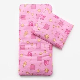 Комплект в коляску (матрасик 40*80 см, подушка 30*40 см) для девочки МИКС