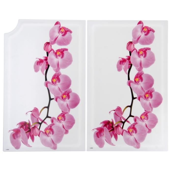 """Доска разделочная 28х18 см складная """"Деко. Орхидея"""", в разобраном виде 35х28 см"""
