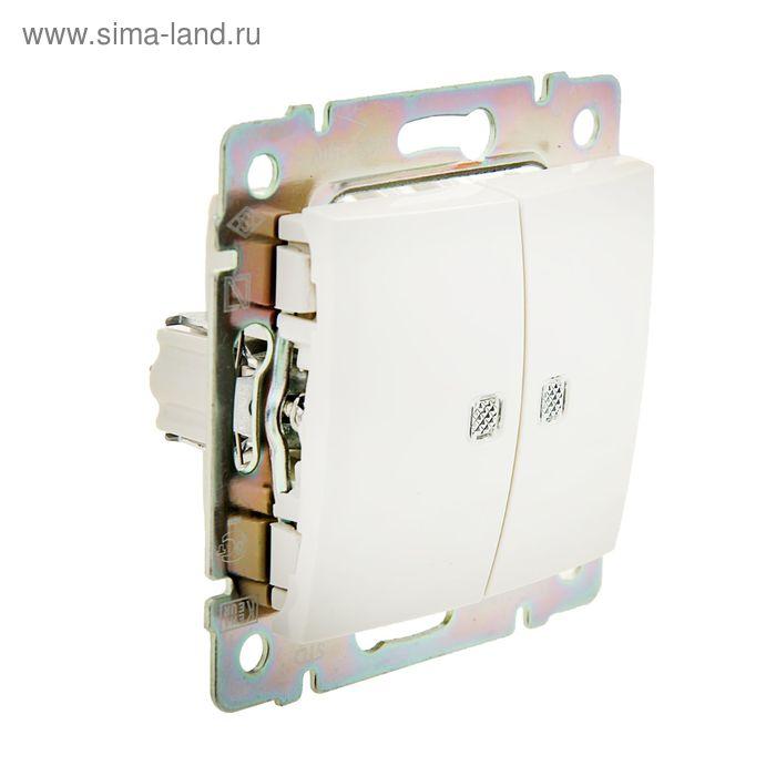 Выключатель двухклавишный c подсветкой в рамку, бежевый