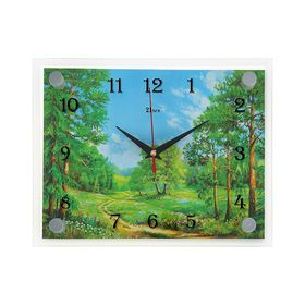 Часы настенные прямоугольные  'Лесная дорога', 20х26 см микс Ош