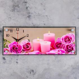 """Часы настенные, серия: Цветы, """"Розы и свечи"""", 20х50 см"""