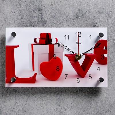 """Часы настольные, серия: Интерьер, """"Love, подарок"""", 13х23  см, микс"""