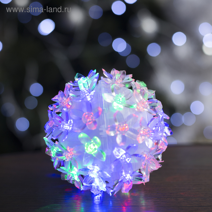 "Фигура ""Шар из цветов"" 10х10 см, пластик, 50 LED, 240V RG/RB"