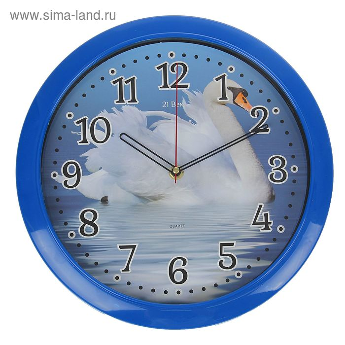 """Часы настенные круглые, """"Лебедь на реке"""", классика, микс  30 см"""