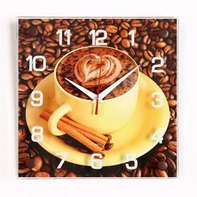 Часы настенные квадратные 'Кофе с корицей', 25х25 см микс Ош