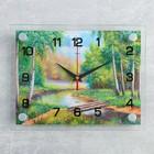 """Часы настенные прямоугольные  """"Плотина в лесу"""", 20х26 см микс"""