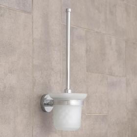 Ёрш для унитаза настенный с крышкой Accoona, 11,5×13,5×37,5 см, стекло, хром