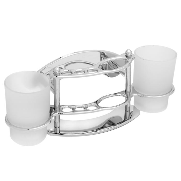 """Держатель для зубных щёток настенный """"Accoona A102"""", 2 стакана, стекло, цвет хром"""