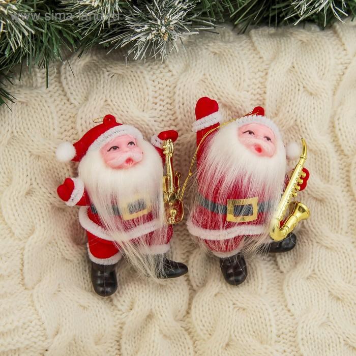 """Ёлочная игрушка """"Дед Мороз музыкант с длинной бородой"""" микс"""