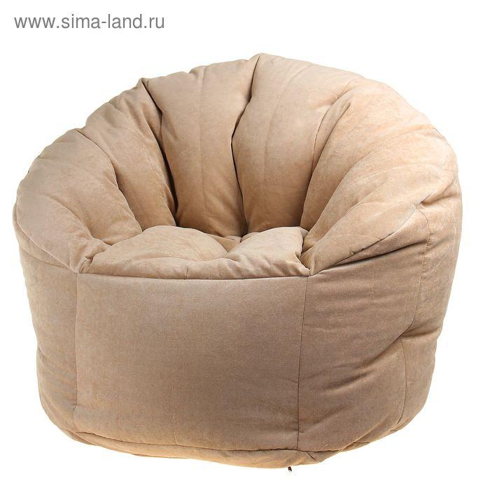 Бескаркасное кресло d90/h100, вельвет бежевый, наполнитель: вспененный полистирол