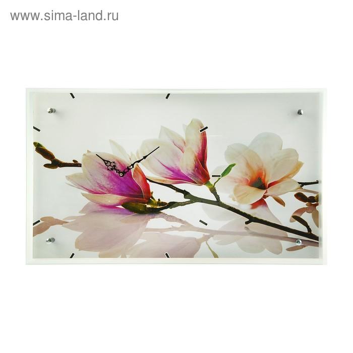 """Часы настенные прямоугольные """"Бело-сиреневые цветы"""", 35х60 см"""