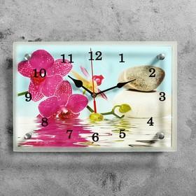 """Часы настенные, серия: Цветы, """"Сиреневые орхидеи и камни"""", 20х30  см, микс"""