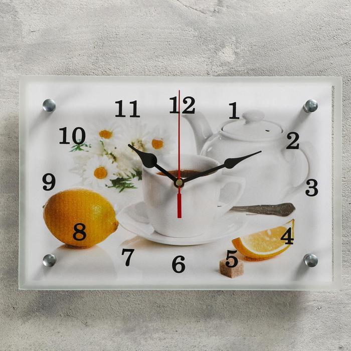 """Часы настенные, серия: Кухня, """"Чайная церемония и лимон"""", 20х30  см, микс"""