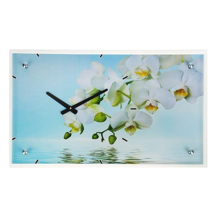 "Часы настенные, серия: Цветы, ""Белые цветы у воды"", 35х60  см, микс"