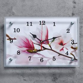 """Часы настенные, серия: Цветы, """"Бело-сиреневые цветы"""", 20х30  см, микс"""