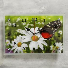 """Часы настенные, серия: Цветы, """"Бабочка на ромашке"""", 20х30  см, микс"""