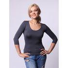 Бесшовная футболка женская с U-образным вырезом, рукав 3/4, Collorista (графит,L/XL)