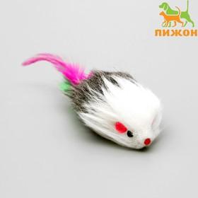 Мышь меховая Пушистик с перьями 7,5 см, микс цветов