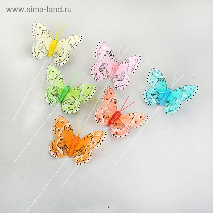 "Декор на палочке ""Бабочки"" 6 х 7,5 см (А7824-8), цвета МИКС"