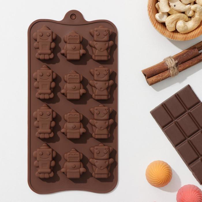 """Форма для льда и шоколада """"Роботы"""", 12 ячеек"""