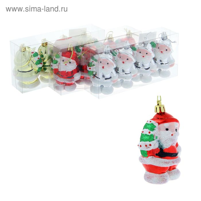"""Ёлочные игрушки """"Дед Мороз с ёлочкой"""" (набор 4 шт.) микс"""
