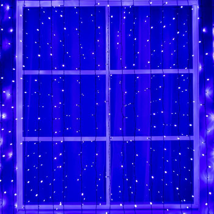 """Гирлянда """"Занавес"""" 2 х 6 м , IP44, УМС, тёмная нить, 1440 LED, свечение фиолетовое, фиксинг, 220 В"""