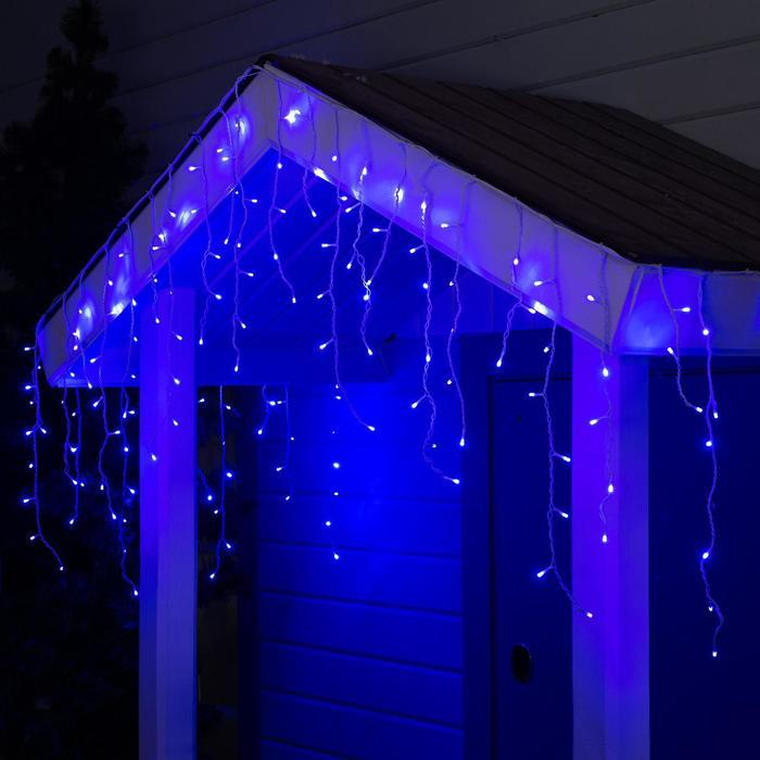 """Гирлянда """"Бахрома"""" уличная, УМС, 3 х 0.6 м, 3W LED-160-220V, нить белая, свечение синее - фото 685614130"""