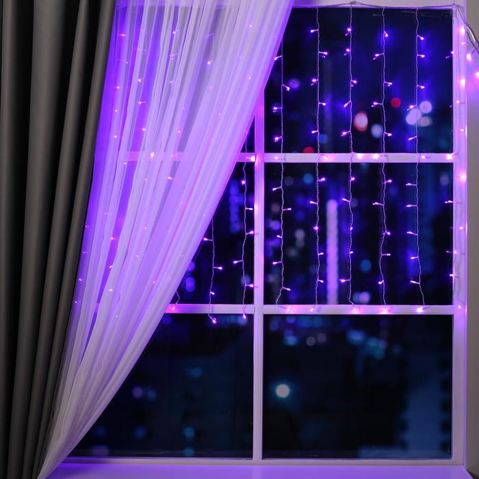 """Гирлянда """"Занавес"""" 1.5 х 1 м , IP20, прозрачная нить, 180 LED, свечение фиолетовое, 8 режимов, 220 В"""