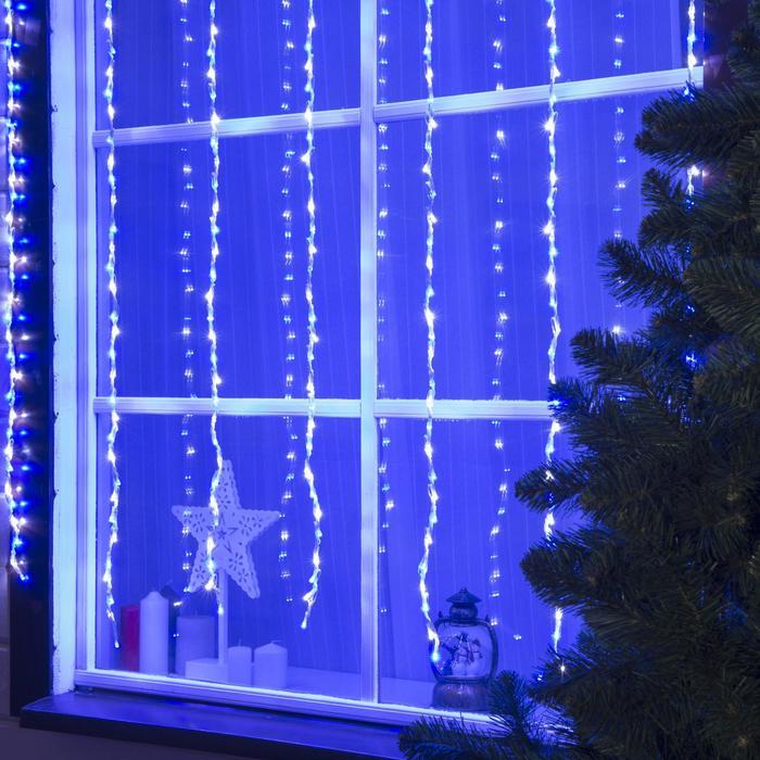 """Гирлянда """"Водопад"""" уличная, 2 х 1.5 м, LED-400-220V, 8 режимов, свечение бело-синее"""