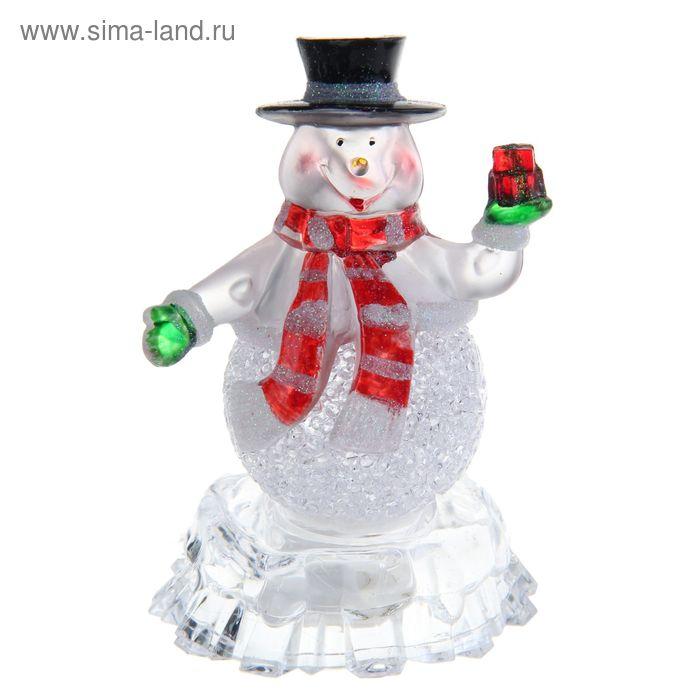 """Игрушка световая """"Снеговик на льдине с подарком"""" (батарейки в комплекте) 1 LED, RGB"""