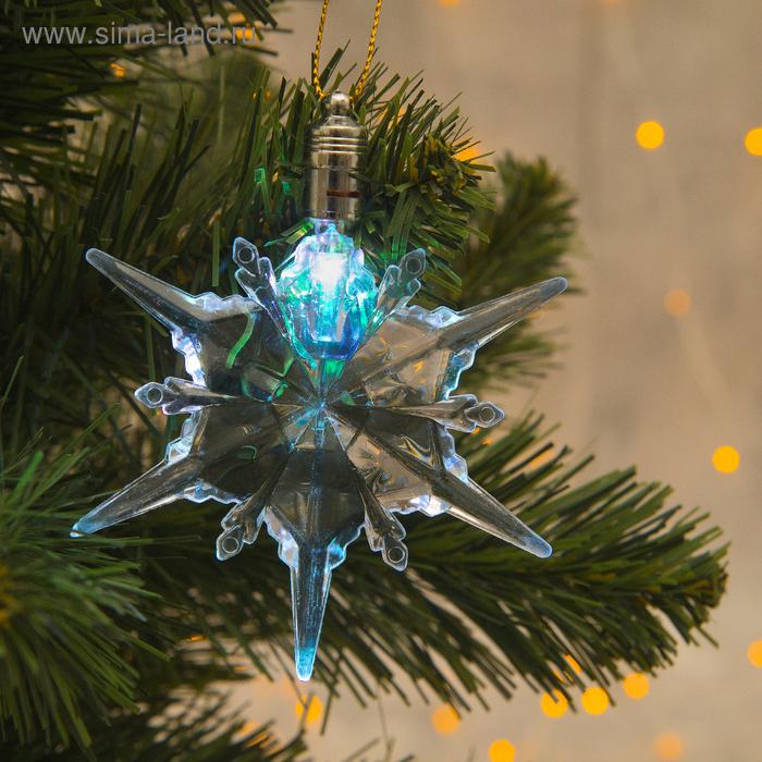 """Подвеска световая """"Снежинка талая"""" (батарейки в комплекте) 1 LED, RGB"""