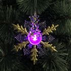"Подвеска световая ""Снежинка снеговик"" (батарейки в комплекте) 1 LED, RGB, ЗОЛОТИСТЫЙ"