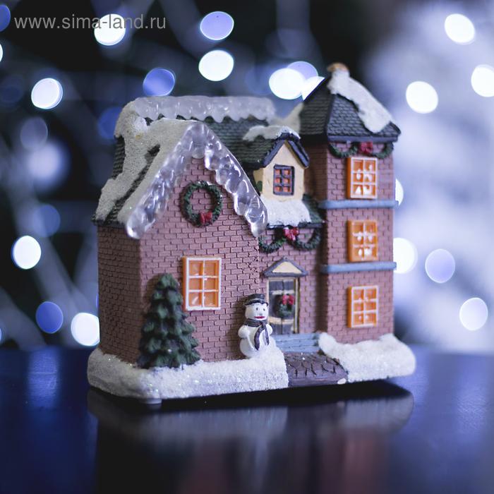 """Фигурка светящаяся """"Новогодний домик"""" 15 х 7х 15.5 см, 8 LED"""