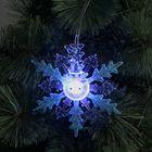 """Подвеска световая """"Снежинка снеговик"""" (батарейки в комплекте) 1 LED, RGB, СИНИЙ"""