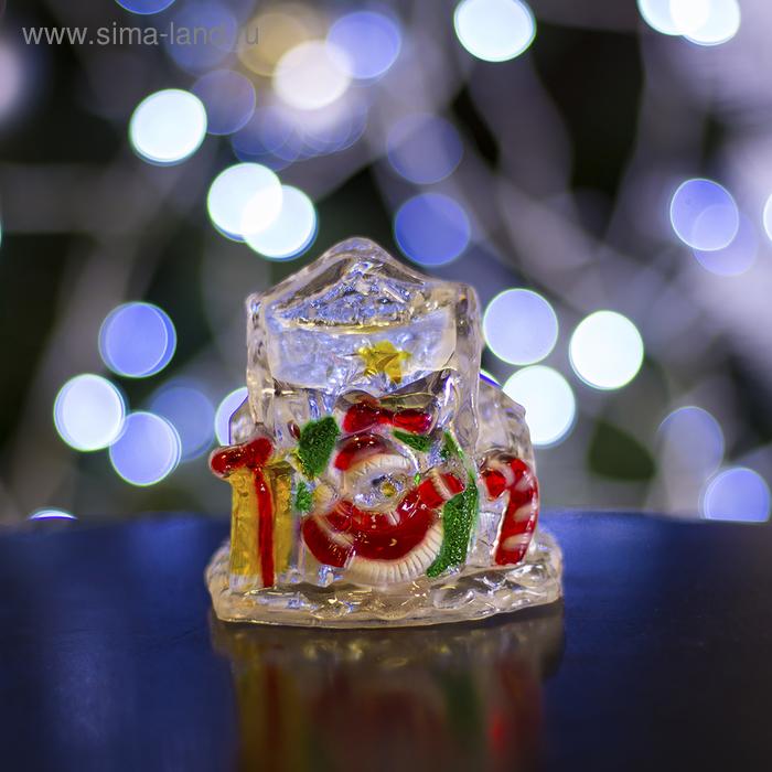 """Игрушка световая """"Домик с подарками снеговика"""" (батарейки в комплекте) 1 LED, RGB"""